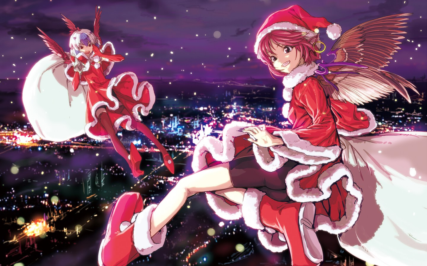 Anime Christmas Girls 18 Background Wallpaper - Animewp.com