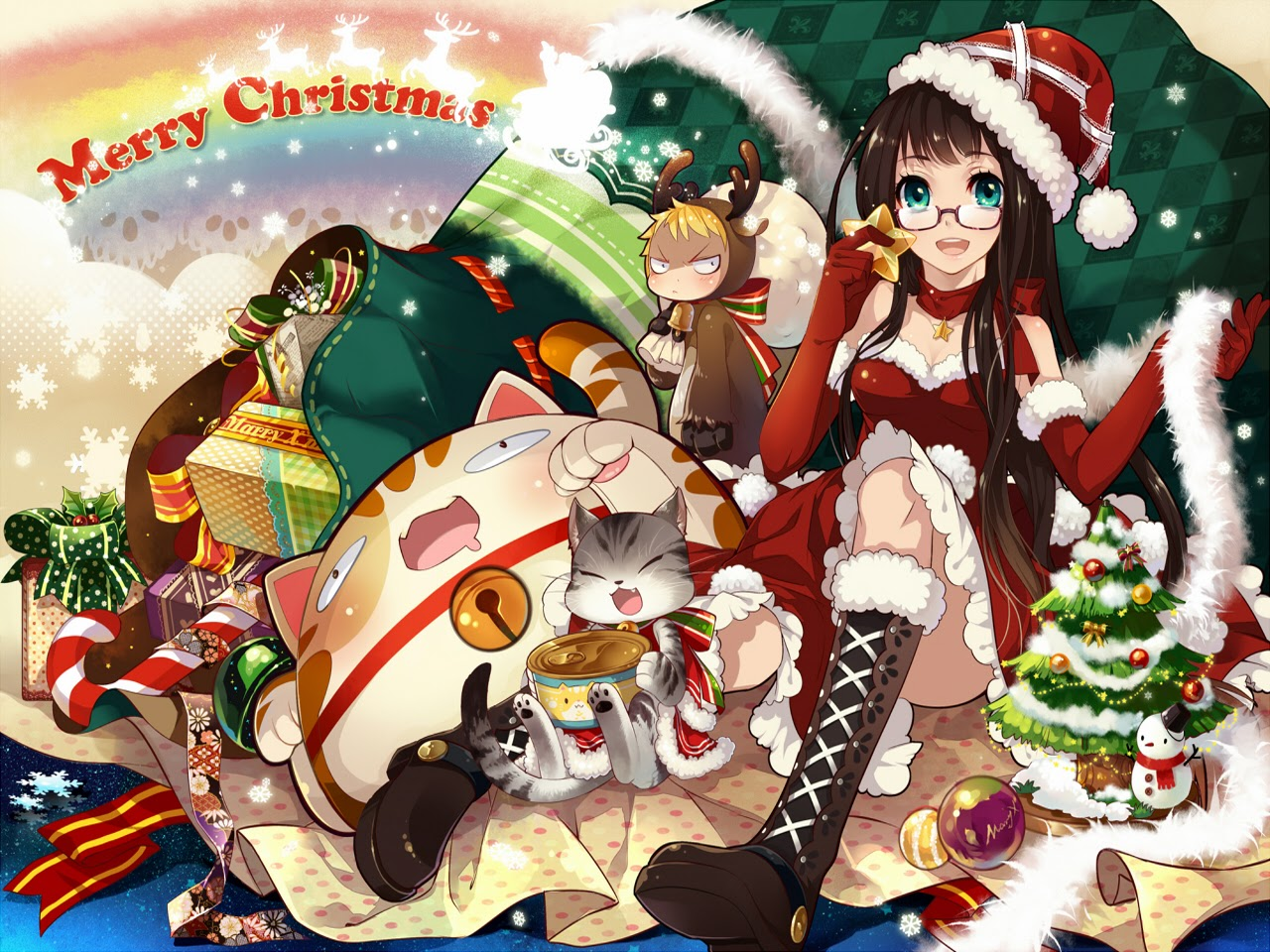 Anime Christmas Girls 8 Free Hd Wallpaper Animewp Com